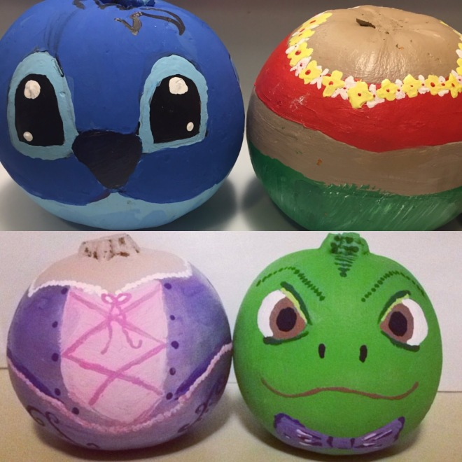 Painted_pumpkins_tangled_lilo_and_stitch